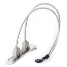 Dual USB Ports Motherboard Cable Adapter Rear Panel Bracket - White