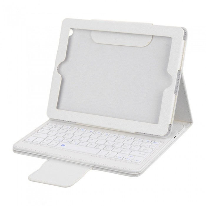2.4GHz Bluetooth V3.0 Wireless 76-Key Keyboard with Protective PU Leather Case for Ipad 2 - White