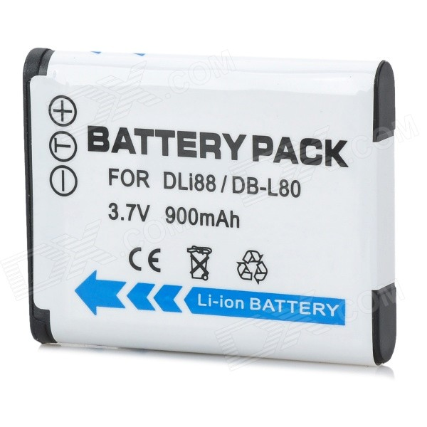 900mAh Battery for SANYO Xacti DB-L80 PENTAX D-Li88