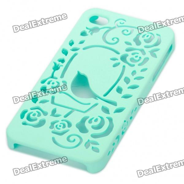 Elegant Protective Hollow Plastic Backside Case for Iphone 4 - Green