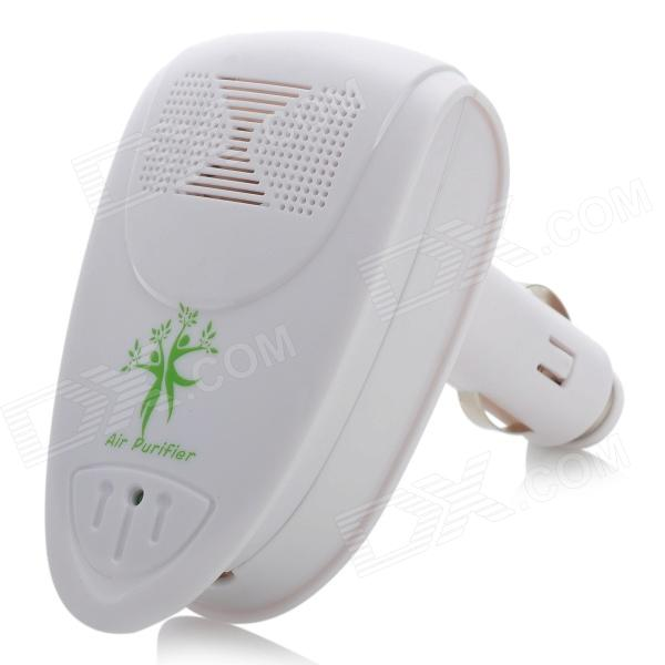 Car Cigarette Powered Air Purifier Ionizer - White (DC 12V)