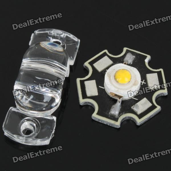 1W 3500K 60LM Warm White LED Emitter Metal Plate with Cover (3.23.6V)