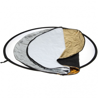 """5-in-1 43"""" Multi Photo Light Collapsible Reflector - Silver"""