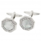 Elegantes Shell Cuff Links metal - plata + blanco (par)