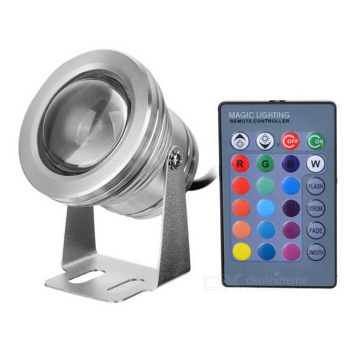 10W 450-Lumen Waterproof RGB LED Underwater Lamp Light with Remote Controller (DC 12V)