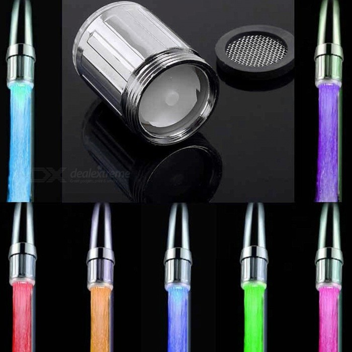 RGB 3-Mode LED Faucet Taps Filter Light Temperature Sensor Indicator (Battery-Free)