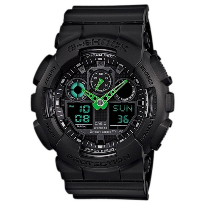 Casio G-Shock GA-100C-1A3 Mens Watch - Black &amp; GreenSport Watches<br>Form ColorGrass Green + BlackModelGA-100C-1A3Quantity1 DX.PCM.Model.AttributeModel.UnitShade Of ColorGreenCasing MaterialResinWristband MaterialResinSuitable forAdultsGenderMenStyleWrist WatchTypeSports watchesDisplayAnalog + DigitalMovementDigitalDisplay Format12/24 hour time formatWater ResistantOthers,200Dial Diameter35 DX.PCM.Model.AttributeModel.UnitDial Thickness16.9 DX.PCM.Model.AttributeModel.UnitWristband Length220 DX.PCM.Model.AttributeModel.UnitBand Width21.7 DX.PCM.Model.AttributeModel.UnitBatteryCR1220Other FeaturesShock Resistant<br>200M Water Resistant<br>Anti-Magnetic Structure<br>1/1000th Second Stopwatch with Speed IndicatorPacking List1 x Main device<br>