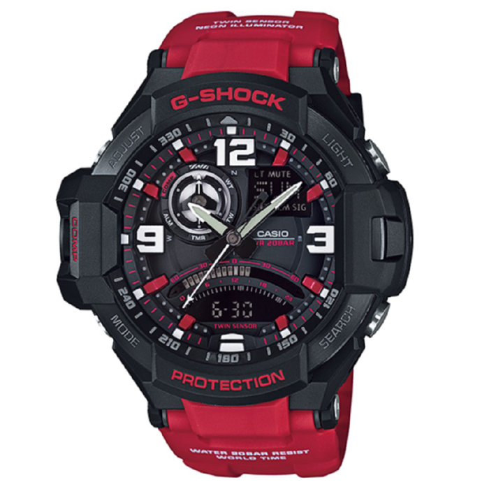 Casio G-Shock GA-1000-4B Aviation Series Mens Watch - Black &amp; RedSport Watches<br>Form ColorBlack + RedModelGA-1000-4BQuantity1 DX.PCM.Model.AttributeModel.UnitShade Of ColorBlackCasing MaterialResinWristband MaterialResinSuitable forAdultsGenderMenStyleWrist WatchTypeSports watchesDisplayAnalog + DigitalMovementDigitalDisplay Format12/24 hour time formatWater ResistantOthers,200Dial Diameter50.8 DX.PCM.Model.AttributeModel.UnitDial Thickness16.6 DX.PCM.Model.AttributeModel.UnitWristband Length240 DX.PCM.Model.AttributeModel.UnitBand Width21.7 DX.PCM.Model.AttributeModel.UnitBatterySR927W ? 2Other FeaturesMineral Glass / Spherical Glass<br>Neobrite<br>Shock Resistant<br>200-meter water resistance<br>Case / bezel material: Resin / Stainless steelPacking List1 x Main device1 x Guide<br>