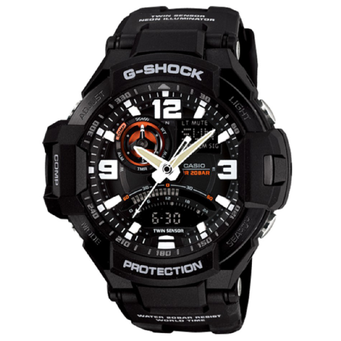 Casio G-Shock GA-1000-1A Aviation Series Mens Watch - BlackSport Watches<br>Form ColorBlackModelGA-1000-1AQuantity1 DX.PCM.Model.AttributeModel.UnitShade Of ColorBlackCasing MaterialResinWristband MaterialResinSuitable forAdultsGenderMenStyleWrist WatchTypeSports watchesDisplayAnalog + DigitalMovementDigitalDisplay Format12/24 hour time formatWater ResistantOthers,200Dial Diameter50.8 DX.PCM.Model.AttributeModel.UnitDial Thickness16.6 DX.PCM.Model.AttributeModel.UnitWristband Length240 DX.PCM.Model.AttributeModel.UnitBand Width21.7 DX.PCM.Model.AttributeModel.UnitBatterySR927W ? 2Other FeaturesMineral Glass / Spherical Glass<br>Neobrite<br>Shock Resistant<br>200-meter water resistance<br>Case / bezel material: Resin / Stainless steelPacking List1 x Main device1 x Guide<br>