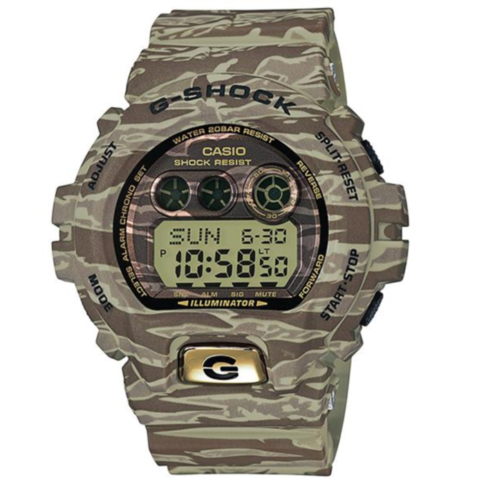 Casio G-Shock GD-X6900TC-5DR Camouflage series Mens Watch - GreenSport Watches<br>Form  ColorArmy Green CamouflageModelGD-X6900TC-5DRQuantity1 DX.PCM.Model.AttributeModel.UnitShade Of ColorGreenCasing MaterialResinWristband MaterialResinSuitable forAdultsGenderMenStyleWrist WatchTypeSports watchesDisplayDigitalMovementQuartzDisplay Format12/24 hour time formatWater ResistantOthers,200mDial Diameter53.9 DX.PCM.Model.AttributeModel.UnitDial Thickness20.4 DX.PCM.Model.AttributeModel.UnitWristband Length220 DX.PCM.Model.AttributeModel.UnitBand Width21.7 DX.PCM.Model.AttributeModel.UnitBatteryCR2032Other FeaturesShock Resistant<br>200M Water Resistant<br>Auto LED (Super Illuminator)<br>10-Year BatteryPacking List1 x Main device1 x Guide<br>