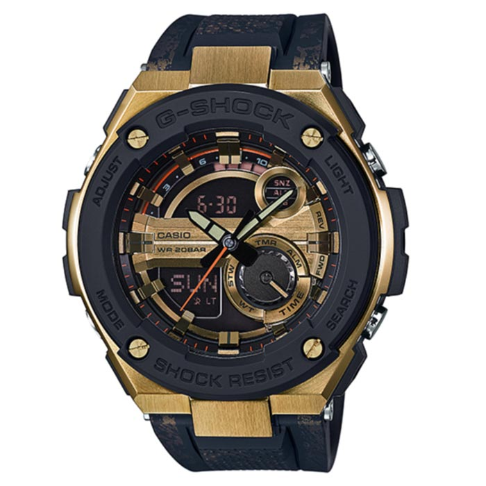 Casio G-Shock GST-200CP-9A G-STEEL Series Watch -  Black&amp;GoldSport Watches<br>Form ColorBlack + GoldModelGST-200CP-9AQuantity1 DX.PCM.Model.AttributeModel.UnitShade Of ColorBlackCasing MaterialStainless steelWristband MaterialResinSuitable forAdultsGenderUnisexStyleWrist WatchTypeSports watchesDisplayAnalog + DigitalMovementDigitalDisplay Format12/24 hour time formatWater ResistantOthers,200mDial Diameter59.1 DX.PCM.Model.AttributeModel.UnitDial Thickness16.1 DX.PCM.Model.AttributeModel.UnitWristband Length210 DX.PCM.Model.AttributeModel.UnitBand Width24.7 DX.PCM.Model.AttributeModel.UnitBatterySR927W * 2Other FeaturesMineral Glass<br>Neobrite<br>Shock Resistant<br>200-meter water resistancePacking List1 * Main device1 x Guide<br>