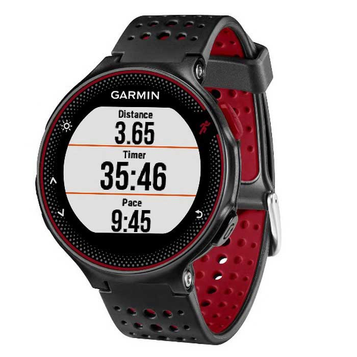 GARMIN Forerunner 235 - Black + Red - English versionSmart Bracelets<br>Form  ColorOrange Red + BlackModelGARMIN Forerunner 235Quantity1 DX.PCM.Model.AttributeModel.UnitMaterialrubberShade Of ColorRedWater-proofYesBluetooth VersionBluetooth V4.0Touch Screen TypeNoOperating SystemAndroid 4.3,iOSCompatible OSAndroid,IOSBattery Capacity240 DX.PCM.Model.AttributeModel.UnitBattery TypeLi-ion batteryStandby Time1.5 DX.PCM.Model.AttributeModel.UnitOther FeaturesCompatible OS: Android,IOS <br> Compatability: Android 4.3 / iOS 7.0 and above system <br> Language: EnglishPacking List1 x Garmin Forerunner 235 Running Smart Watch1 x English User Manual2 x Watch Band2 x Screwdriver1 x Charging Cable<br>