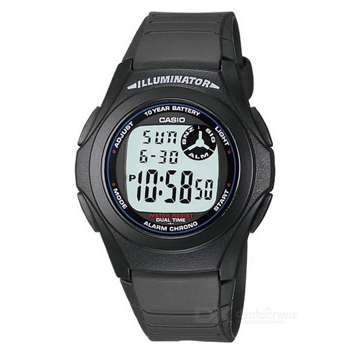 Casio F-200W-1ADF Mens Digital Sports Watch-Black/Blue (Without Box)Sport Watches<br>Form ColorBlackModelF-200W-1ADFQuantity1 DX.PCM.Model.AttributeModel.UnitShade Of ColorBlackCasing MaterialPlasticWristband MaterialNavy blue rubberSuitable forAdultsGenderMenStyleWrist WatchTypeSports watchesDisplayDigitalMovementQuartzDisplay Format12/24 hour time formatWater ResistantWater Resistant 3 ATM or 30 m. Suitable for everyday use. Splash/rain resistant. Not suitable for showering, bathing, swimming, snorkelling, water related work and fishing.Dial Diameter3.9 DX.PCM.Model.AttributeModel.UnitDial Thickness1.2 DX.PCM.Model.AttributeModel.UnitWristband Length22 DX.PCM.Model.AttributeModel.UnitBand Width2.3 DX.PCM.Model.AttributeModel.UnitBatteryCR2016Other FeaturesLight, Stopwatch, Water Resistant, Alarm, Date, Day &amp; Date, Easy To ReadPacking List1 x F-200W-1ADF<br>