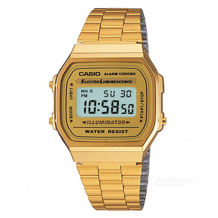 Casio A168WG-9WDF Classic Digital Watch - Golden (Without Box)Quartz Watches<br>Form  ColorGoldenModelA168WG-9WDFQuantity1 DX.PCM.Model.AttributeModel.UnitShade Of ColorGoldCasing MaterialStainless steelWristband MaterialStainless steelSuitable forAdultsGenderMenStyleWrist WatchTypeFashion watchesDisplayDigitalMovementDigitalDisplay Format12/24 hour time formatWater ResistantFor daily wear. Suitable for everyday use. Wearable while water is being splashed but not under any pressure.Dial Diameter3.86 DX.PCM.Model.AttributeModel.UnitDial Thickness0.96 DX.PCM.Model.AttributeModel.UnitWristband Length22 DX.PCM.Model.AttributeModel.UnitBand Width2.8 DX.PCM.Model.AttributeModel.UnitBatteryCR2016Packing List1 * A168WG-9WDF<br>