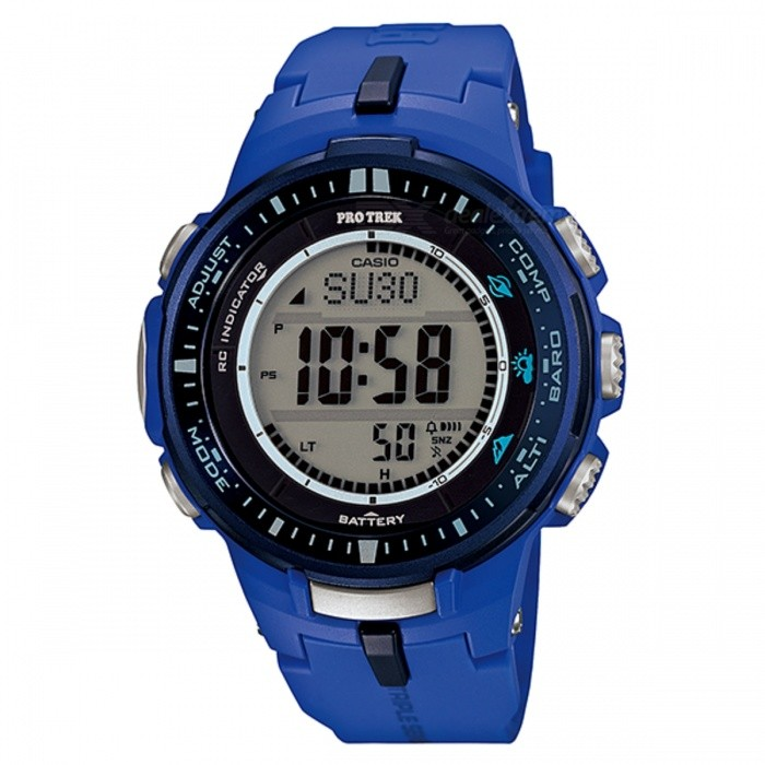 Casio Protrek PRW-3000-2B Tough Solar Watch - Blue/Black (Without Box)Quartz Watches<br>Form  ColorBlue + BlackModelPRW-3000-2BDRQuantity1 DX.PCM.Model.AttributeModel.UnitShade Of ColorBlueCasing MaterialResin / aluminumWristband MaterialResinSuitable forAdultsGenderMenStyleWrist WatchTypeSports watchesDisplayDigitalMovementQuartzDisplay Format12/24 hour time formatWater ResistantWater Resistant 10 ATM or 100 m. Suitable for recreational surfing, swimming, snorkeling, sailing and water sports.Dial Diameter5.6 DX.PCM.Model.AttributeModel.UnitDial Thickness1.23 DX.PCM.Model.AttributeModel.UnitWristband Length23 DX.PCM.Model.AttributeModel.UnitBand Width2.5 DX.PCM.Model.AttributeModel.UnitBatterySolar rechargeable batteryPacking List1 * PRW-3000-2BDR<br>