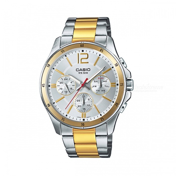 Casio MTP-1374SG-7AVDF Analog Watch - Silver + Golden (Without Box)Quartz Watches<br>Form  ColorSilver + Golden + Multi-ColoredModelMTP-1374SG-7AVDFQuantity1 DX.PCM.Model.AttributeModel.UnitShade Of ColorSilverCasing MaterialStainless SteelWristband MaterialStainless SteelSuitable forAdultsGenderMenStyleWrist WatchTypeCasual watchesDisplayAnalogMovementQuartzDisplay Format12 hour formatWater ResistantWater Resistant 5 ATM or 50 m. Suitable for swimming, white water rafting, non-snorkeling water related work, and fishing.Dial Diameter4.35 DX.PCM.Model.AttributeModel.UnitDial Thickness1.04 DX.PCM.Model.AttributeModel.UnitWristband Length22 DX.PCM.Model.AttributeModel.UnitBand Width2 DX.PCM.Model.AttributeModel.UnitBatterySR927SWPacking List1 x MTP-1374SG-7AVDF Watch<br>
