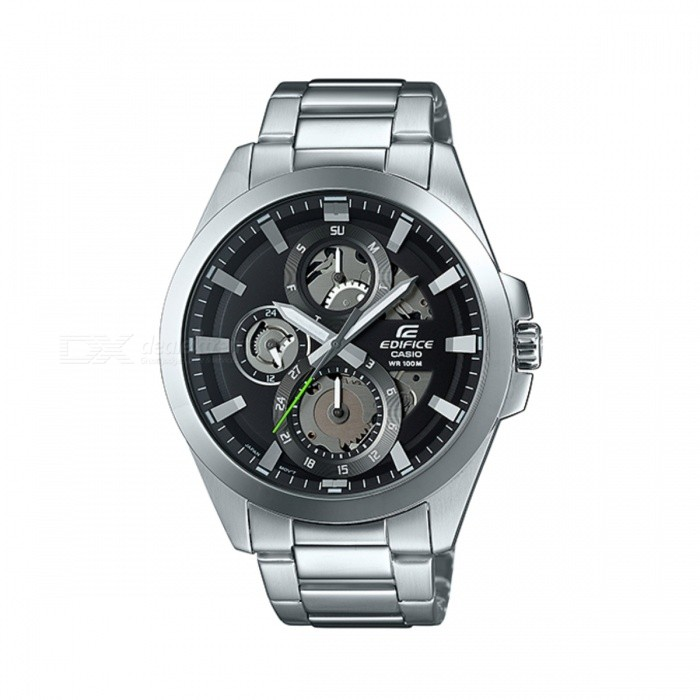 Casio Edifice ESK-300D-1AVUDF Quartz Watch - Silver + BlackQuartz Watches<br>Form  ColorSilver + Black + Multi-ColoredModelESK-300D-1AVUDFQuantity1 DX.PCM.Model.AttributeModel.UnitShade Of ColorSilverCasing MaterialStainless steelWristband MaterialStainless steelSuitable forAdultsGenderMenStyleWrist WatchTypeCasual watchesDisplayAnalogMovementQuartzDisplay Format12 hour formatWater ResistantWater Resistant 10 ATM or 100 m. Suitable for recreational surfing, swimming, snorkeling, sailing and water sports.Dial Diameter5.05 DX.PCM.Model.AttributeModel.UnitDial Thickness1.1 DX.PCM.Model.AttributeModel.UnitWristband Length22 DX.PCM.Model.AttributeModel.UnitBand Width2.5 DX.PCM.Model.AttributeModel.UnitBatterySR927SWPacking List1 x ESK-300D-1AVUDF<br>