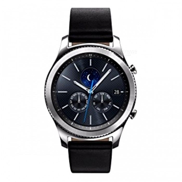Samsung SM-R770 Gear S3 Classic Smart Watch (Kr ver) - SilverSmart Watches<br>Form  ColorSilverModelSM-R770Quantity1 DX.PCM.Model.AttributeModel.UnitMaterialMetal + plasticShade Of ColorSilverCPU ProcessorSamsung Exynos 3 Dual, 1000MHzScreen Size1.3 DX.PCM.Model.AttributeModel.UnitScreen Resolution360 * 360Touch Screen TypeSuper AMOLEDBluetooth VersionBluetooth V4.2Operating SystemOthers,Tizen-based wearable platformCompatible OSAndroid 4.4 with 1.5GB RAM or above devicesLanguageKoreanWristband Length20 DX.PCM.Model.AttributeModel.UnitWater-proofIP68Battery ModeNon-removableBattery TypeLi-polymer batteryBattery Capacity380 DX.PCM.Model.AttributeModel.UnitStandby Time3 DX.PCM.Model.AttributeModel.UnitPacking List1 x Gear S3 classic1 x Band strap1 x Wireless charging dock / display stand1 x Quick start guide1 x User manual<br>