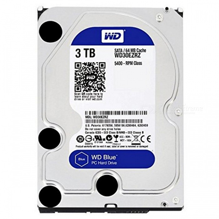 WD Blue 3TB WD30EZRZ Internal Standard Hard DiskHDD &amp; SSD<br>Form  Color3TBModelWD30EZRZQuantity1 pieceMaterialMetal+ PlasticInterfaceSATA 3.0Capacity / ROMOthers,3TBForm Factor2.5Max Sequential Read159 MB/sMax Sequential Write147 MB/sBrandWDTypeHDDApplicationDesktop PC  (5.25)Packing List1 x WD30EZRZ Standard Hard Disk<br>