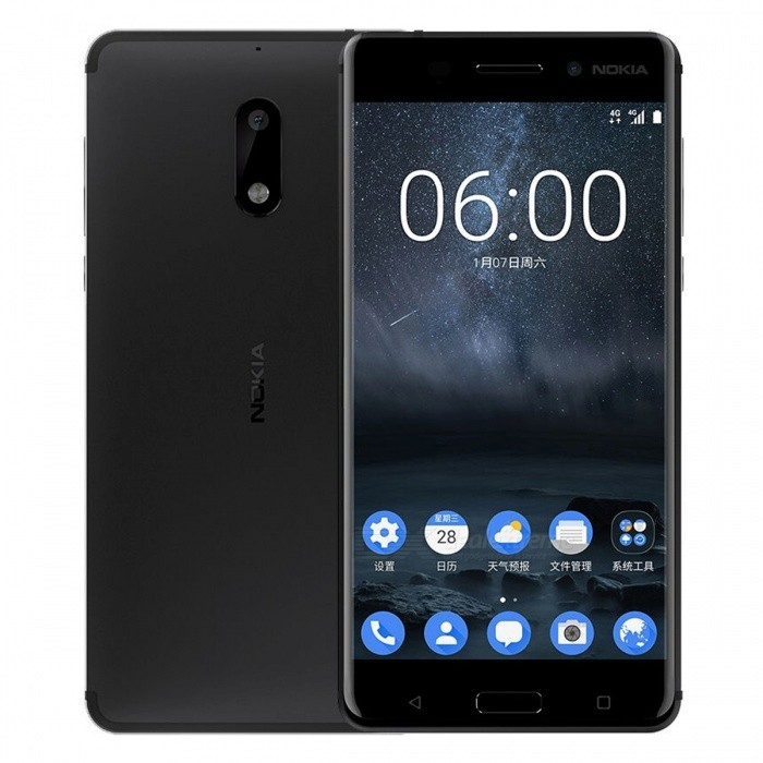 Nokia 6 Smartphone w/ Dual SIM, 4GB RAM, 64GB ROM - BlackAndroid Phones<br>Form  ColorBlackRAM4GBROM64GBBrandNokiaModel6Quantity1 DX.PCM.Model.AttributeModel.UnitMaterialAluminum alloy + Corning gorilla glassShade Of ColorBlackTypeBrand NewPower AdapterUK PlugNetwork Type2G,3G,4GBand DetailsGSM 850 / 900 / 1800 / 1900, UMTS1900 (B2), UMTS850 (B5),  UMTS900 (B8),  CDMA800 (BC0),  TD-SCDMA2000,  TD-SCDMA1900, LTE2100 (B1), LTE850 (B5), LTE1800 (B3),  TD-LTE1900 (B39),  TD-LTE2600 (B38),  TD-LTE2300 (B40),  LTE2500 (B41)Data TransferGPRS,HSDPA,EDGE,LTE,HSUPAWLAN Others,Wi-Fi 802.11 b,g,n,acSIM Card TypeNano SIMSIM Card Quantity2Network StandbyDual Network StandbyGPSYes,A-GPS,GLONASSBluetooth VersionBluetooth V4.1Operating SystemOthers,Android 7.0CPU ProcessorQualcomm Snapdragon 430 MSM8937, 2016, 64 bit, octa-core, 28 nm, 1400MHzCPU Core QuantityOcta-CoreGPUQualcomm Adreno 505LanguageNot specifiedAvailable MemoryMemory CardTF cardMax. Expansion Supported128GBSize Range5.5 inches &amp; OverTouch Screen TypeIPSScreen Resolution1920*1080MultitouchOthers,YesScreen Size ( inches)Others,5.5Camera PixelOthers,16MPFront Camera Pixels8.0 DX.PCM.Model.AttributeModel.UnitVideo Recording Resolution1920 x 1080 pixelFlashYesAuto FocusCD AF, PD AFTouch FocusYesOther Camera FunctionsPanorama photo, face detection, Smile detection, HDR photo, slow motion video,  geo-taggingTalk Time18 DX.PCM.Model.AttributeModel.UnitStandby Time768 DX.PCM.Model.AttributeModel.UnitBattery Capacity3000 DX.PCM.Model.AttributeModel.UnitBattery ModeNon-removablefeaturesWi-Fi,GPS,Bluetooth,OTGSensorG-sensor,Proximity,Compass,Accelerometer,Fingerprint authentication sensor,Others,Hall sensor, Light sensorWaterproof LevelIPX1I/O Interface3.5mmJAVANoReference Websites== Will this mobile phone work with a certain mobile carrier of yours? ==Packing List1 x Phone1 x Power adapter1 x Cable1 x User manual<br>