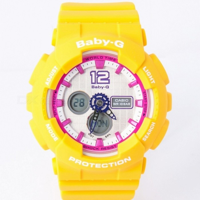Casio Baby-G BA-120-9BDR - YellowSport Watches<br>Form  ColorYellowModelBA-120-9BDRQuantity1 DX.PCM.Model.AttributeModel.UnitCasing MaterialResinWristband MaterialResinDial Diameter4.34 DX.PCM.Model.AttributeModel.UnitDial Thickness1.58 DX.PCM.Model.AttributeModel.UnitWristband Length22 DX.PCM.Model.AttributeModel.UnitBatteryCoin Cell BatteryPacking List1 x BA-120-9BDR<br>