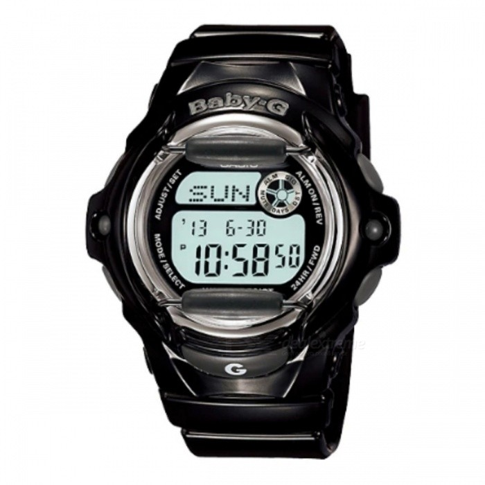 Casio Baby-G Standard Digital BG-169R-1Sport Watches<br>Form  ColorBlackModelBG-169R-1Quantity1 DX.PCM.Model.AttributeModel.UnitShade Of ColorBlackCasing MaterialResinWristband MaterialStainless steelSuitable forAdultsStyleWrist WatchDisplayAnalogDisplay Format12/24 hour time formatWater ResistantOthers,200 Meter Water ResistanceDial Diameter4.26 DX.PCM.Model.AttributeModel.UnitDial Thickness1.54 DX.PCM.Model.AttributeModel.UnitWristband Length22 DX.PCM.Model.AttributeModel.UnitBand Width2.5 DX.PCM.Model.AttributeModel.UnitBattery1 x coin cell batteryPacking List1 x BG-169R-1<br>
