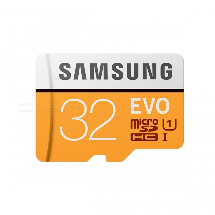 Samsung EVO 32GB MicroSD UHS-I with Adapter MB-MP32GAMicroSD TF Cards<br>Capacity32GBBrandSamsungModelMB-MP32GAQuantity1 setMaterialPlastic + MetalForm  ColorYellowSpeed ClassUHS-I (U1)Max Read Speed95MB/sMax Write Speed20MB/sOverwrite Protection SwitchYesCapacity32GB With AdapterPacking List1 x MB-MP32GA Card1 x SD adapter<br>