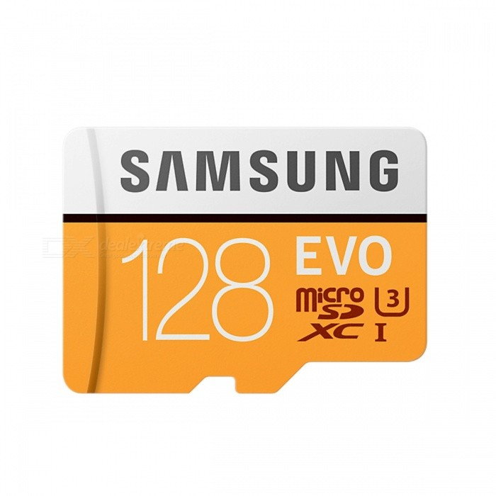 Samsung EVO 128GB MicroSDXC UHS-I U3 with SD Adapter  MB-MP128GAMicroSD TF Cards<br>Capacity128GBBrandSamsungModelMB-MP128GAQuantity1 setMaterialPlastic + MetalForm  ColorYellowSpeed ClassClass 10Max Read Speed100MB/sMax Write SpeedunspecifiedOverwrite Protection SwitchYesCapacity128GB With AdapterPacking List1 x MB-MP128GA Card1 x SD adapter<br>