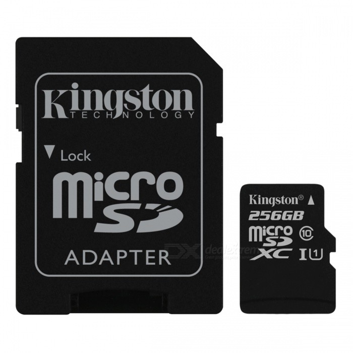 Kingston MicroSDXC 256GB Read:80Mb UHS-I with SD Adapter SDC10G2/256GBMicroSD TF Cards<br>Capacity256GBBrandKingstonModelSDC10G2/256GBQuantity1 pieceMaterialPlastic + MetalForm  ColorBlackSpeed ClassUHS-IMax Read Speed80MB/sMax Write Speed10MB/sOverwrite Protection SwitchYesPacking List1 x SDC10G2/256GB Card1 x SD Adapter<br>