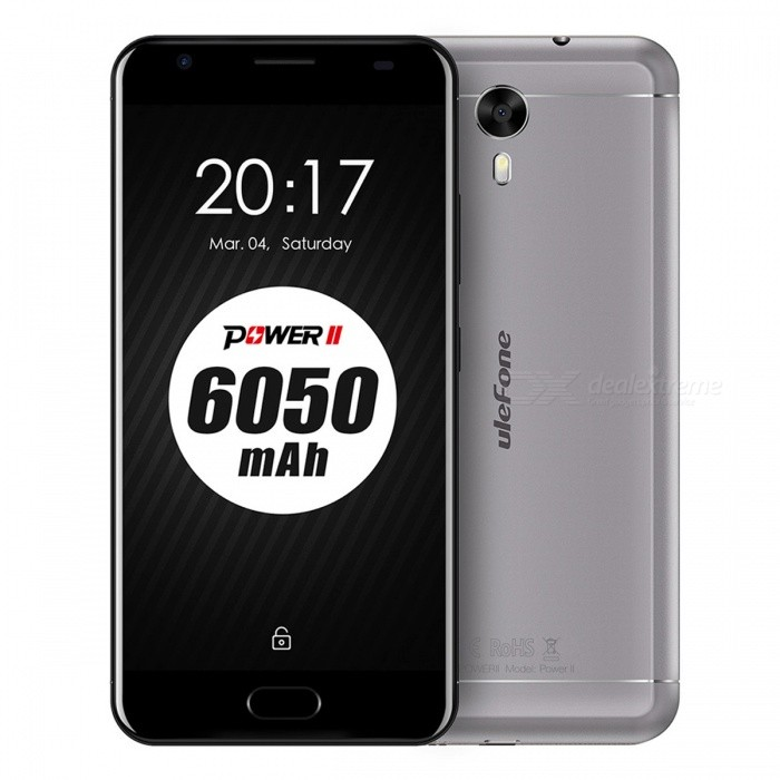 Ulefone Power 2 4G phone w/ 4GB RAM 64GB ROM - Gray (America Version)Android Phones<br>Form  ColorGray (US Version)RAM4GBROM64GBBrandUlefoneModelPower 2Quantity1 pieceMaterialaluminium alloyShade Of ColorGrayTypeBrand NewPower AdapterUS PlugHousing Case Materialaluminium alloyTime of Release2017.7.15Network Type2G,3G,4GBand DetailsGSM:1900/1800/850/900(B2/3/5/8) WCDMA:1900/1700/850 B2/4/5  FDD:1900/1700/850/2600/700/700B2/4/5/7/12/17Data TransferGPRS,HSDPA,EDGE,LTEWLAN Wi-Fi 802.11 a,b,g,n,Dual band Wi-Fi (2.4GHz / 5GHz),Others,N/ASIM Card TypeNano SIMSIM Card Quantity2Network StandbyDual Network StandbyGPSYes,GLONASSNFCNoInfrared PortNoBluetooth VersionBluetooth V4.0Operating SystemOthers,Android 7.0CPU ProcessorMT6750T  Octa-Core 1.5GHzCPU Core QuantityOcta-CoreGPUARM Mali T860 MP2 520MHzLanguageIndonesian, Malay, Catalan, Czech, Danish, German, Estonian, English, Spanish, Filipino, French, Croatian, Italian, Latvian, Lithuanian, Hungarian, Dutch, Norwegian, Polish, Portuguese, Romanian, Slovak, Finnish, Swedish, Vietnamese, Greek, Turkish, Bulgarian, Russian, Serb, Ukrainian, Armenian, Hebrew, Urdu, Arabic, Persian, Hindi, Bengali, Thai, Korean, Burmese, Japanese, Simplified Chinese, Traditional ChineseAvailable Memory55GBMemory CardMicro SD CardMax. Expansion Supported256GBSize Range5.5 inches &amp; OverTouch Screen TypeYesScreen Resolution1920*1080Screen Size ( inches)Others,5.5Screen Edge2.5D Curved EdgeCamera Pixel13.0MPFront Camera Pixels8 MPVideo Recording Resolution1080p 30fpsFlashYesAuto FocusYesTouch FocusYesTalk Time19 hoursStandby Time1160 hoursBattery Capacity6050 mAhBattery ModeNon-removableQuick Charge9V 2AfeaturesWi-Fi,GPS,FM,Bluetooth,OTGSensorG-sensor,Proximity,Compass,Gesture,Fingerprint authentication sensorWaterproof LevelIPX0 (Not Protected)I/O Interface3.5mm,Micro USB v2.0,OTGSoftwareplay shop,calender,google,map,camera,music player,Gmail,FM,Youtube etc.Format SupportedWAV, AMR, MP3, MID, 3GP, RM, MPEG-4, AVITV TunerNoRadio TunerFMWireless C