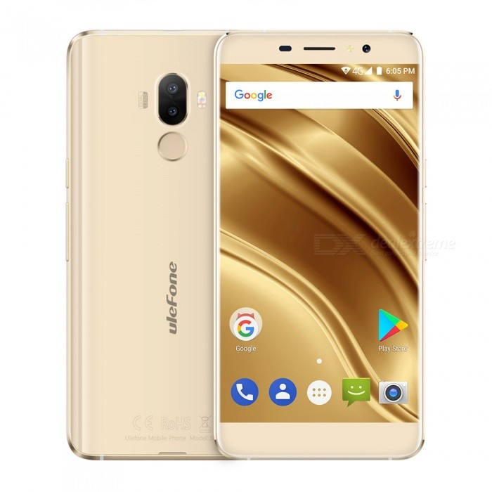 Ulefone S8 Pro  5.3 Android 7.0  4G Phone w/ 2GB RAM 16GB ROM - GoldAndroid Phones<br>Form  ColorGoldenRAM2GBROM16GBBrandUlefoneModelS8 ProQuantity1 pieceMaterialMetal frameShade Of ColorGoldTypeBrand NewPower AdapterEU PlugHousing Case MaterialMetal frameTime of Release2017.8.1Network Type2G,3G,4GBand DetailsGSM: 1900/1800/850/900BAND2/3/5/8) WADMA: 2100/850/900(BAND1/5/8)  FDD-LTE: 2100/1800/2600/900/800 (BAND1/3/7/8/20)Data TransferGPRS,HSDPA,EDGE,LTEWLAN Wi-Fi 802.11 b,g,nSIM Card TypeMicro SIMSIM Card Quantity2Network StandbyDual Network StandbyGPSYesNFCNoInfrared PortNoBluetooth VersionBluetooth V4.0Operating SystemAndroid 7.xCPU ProcessorMT6737<br>Quad-core 64-bit 1.3GHzCPU Core QuantityQuad-CoreGPUARM Mali-T720 650MHzLanguageIndonesian, Malay, Catalan, Czech, Danish, German, Estonian, English, Spanish, Filipino, French, Croatian, Italian, Latvian, Lithuanian, Hungarian, Dutch, Norwegian, Polish, Portuguese, Romanian, Slovak, Finnish, Swedish, Vietnamese, Greek, Turkish, Bulgarian, Russian, Serb, Ukrainian, Armenian, Hebrew, Urdu, Arabic, Persian, Hindi, Bengali, Thai, Korean, Burmese, Japanese, Simplified Chinese, Traditional ChineseAvailable Memory10.8GMemory CardTFMax. Expansion Supported128GSize Range5.0~5.4 inchesTouch Screen TypeIPSScreen Resolution1280*720Multitouch5Screen Size ( inches)Others,5.3Screen Edge2.5D Curved EdgeCamera Pixel13.0MPFront Camera Pixels5.0 MPFlashYesTouch FocusYesTalk Time6 hourStandby Time120 hourBattery Capacity3000 mAhBattery ModeReplacementQuick ChargeNOfeaturesWi-Fi,GPS,BluetoothSensorG-sensor,Proximity,Fingerprint authentication sensorWaterproof LevelIPX0 (Not Protected)Shock-proofNoI/O Interface3.5mm,Micro USB v2.0Softwaregoogle,chrome,FM,calendar,gmail,play shop.etc.Format SupportedMIDIMP3AAC ARM AWB WAV FLAC,3GPPMPEG-4H.264WMV9VP9JAVANoTV TunerNoRadio TunerFMWireless ChargingNoOther Features5.3 HD Dual Camera 13MP+5MP /5MP MT6737 Quad-core Metal Body 3000 mAh Battery  Fingerprint+GPS+metal frameReference Websites== Will