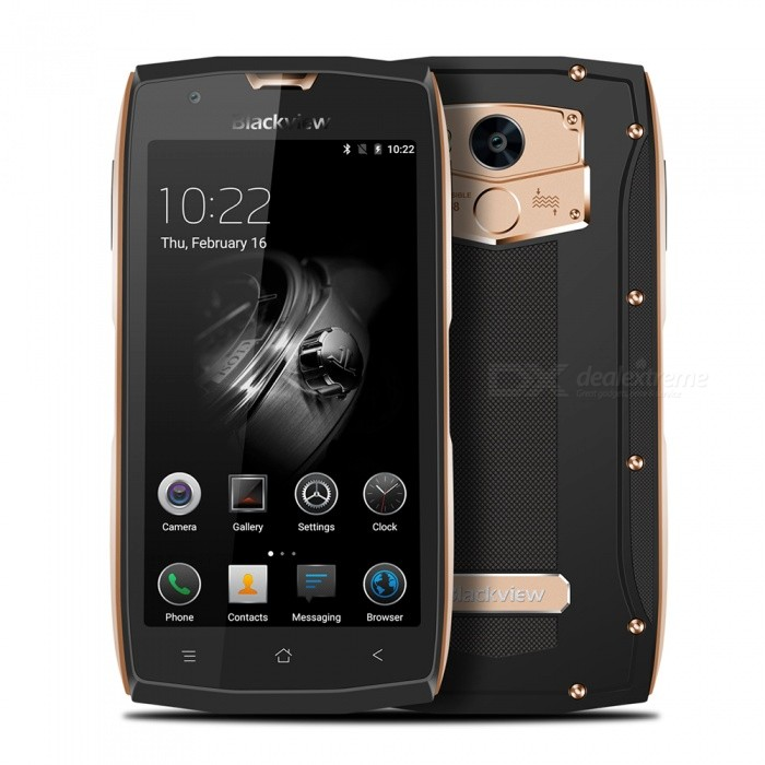 BLACKVIEW BV7000 Pro Android 6.0 Smartphone w/ 4GB RAM 64GB ROM - GoldAndroid Phones<br>Form  ColorGoldenRAM4GBROM64GBBrandBlackviewModelBV7000 proQuantity1 setMaterialPVCShade Of ColorGoldTypeBrand NewPower AdapterEU PlugHousing Case MaterialPVCNetwork Type2G,3G,4GBand Details4G:FDD-LTE:2100/1800/2600/900/800(B1/3/7/8/20) 3G:WCDMA:2100/900(B1/8) 2G:GSM: 850/900/1800/1900(B5/8/3/2)Data TransferGPRS,HSDPA,LTEWLAN Wi-Fi 802.11 a,b,g,nSIM Card TypeMicro SIM,Nano SIMSIM Card Quantity2Network StandbyDual Network StandbyGPSYesNFCNoInfrared PortNoBluetooth VersionBluetooth V4.0Operating SystemAndroid 6.0CPU ProcessorMT6750T 1.5GHZCPU Core QuantityOcta-CoreGPUARM Mali-T860-MP2 650MHzLanguageGlobal multinational languageAvailable Memory58GBMemory CardYesMax. Expansion Supported32GBSize Range5.0~5.4 inchesTouch Screen TypeIPSScreen Resolution1920*1080Multitouch5Screen Size ( inches)5.0Camera Pixel13.0MPFront Camera Pixels8 MPFlashYesAuto FocusYesTouch FocusYesTalk Time19 hourStandby Time300 hourBattery Capacity3500 mAhBattery ModeNon-removableQuick ChargeYesfeaturesWi-Fi,GPS,FM,BluetoothSensorG-sensor,Proximity,Compass,Gesture,Fingerprint authentication sensorWaterproof LevelOthers,IP68Dust-proof LevelYesShock-proofYesI/O InterfaceUSB Type-cSoftwareFacebook, Twitter, Google browser, Google map, Electric Torch, FM Radio, Email, Music, Clock, G-mail, Play store, Camera, Gallery, Voice Search, Messaging, QQ, WeChatFormat SupportedWAV, AMR, MP3, MID, 3GP, RM, MPEG-4, AVIJAVANoTV TunerNoRadio TunerFMWireless ChargingNoOther Features5.0 HD IPS + Dual Network Standby + Android6.0 + 4GB RAM + 64GB ROM + Wi-Fi + GPS + FM +  8.0MP Front camera+ 13.0MP Rear camera + 3500mAh battery + Octa-Core + Bluetooth V4.0Reference Websites== Will this mobile phone work with a certain mobile carrier of yours? ==Packing List1 x Cell phone1 x Data cable1 x Plug Power adapter1 x User manual1 x Warranty manual<br>