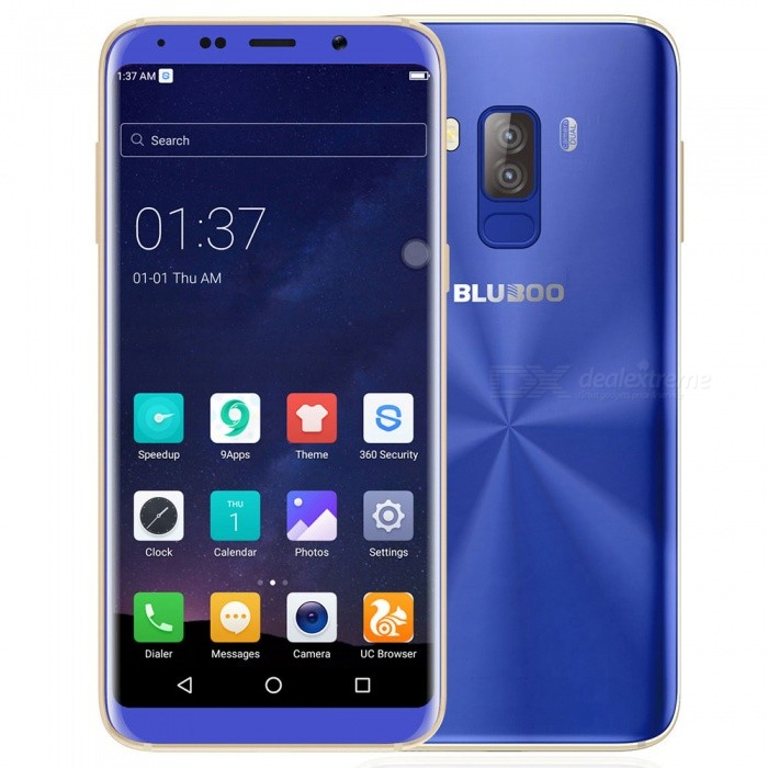 Bluboo S8 5.7 Dual Rear Cameras Android 7.0 Phone w/ 3GB, 32GB - BlueAndroid Phones<br>Form  ColorJewelry BlueRAM3GBROM32GBBrandOthers,BLUBOOModelS8Quantity1 pieceMaterialPC + MetalShade Of ColorBlueTypeBrand NewPower AdapterEU PlugHousing Case MaterialPC+MetalTime of Release2017/8/1Network Type2G,3G,4GBand DetailsGSM: B2/3/5/8 WCDMA: 900/2100MHz LTE-FDD:B1/3/7/8/20Data TransferLTEWLAN Wi-Fi 802.11 a,b,g,nSIM Card TypeNano SIMSIM Card Quantity2Network StandbyDual Network StandbyGPSYes,A-GPSNFCNoInfrared PortNoBluetooth VersionBluetooth V4.0Operating SystemOthers,360 OSCPU Processor1.5CPU Core QuantityOcta-CoreGPUARM Mali T860LanguageEnglish, Spanish, Portuguese (Brazil), Portuguese (Portugal), Italian, German,  French, Russian, Arabic, Malay, Thai, Greek, Ukrainian, Croatian, Czech, Simplified Chinese, Traditional Chinese.It has updated 48 languagesAvailable Memory32GBMemory CardSDMax. Expansion Supported256GBSize Range5.5 inches &amp; OverTouch Screen TypeTFTScreen ResolutionOthers,1440*720Multitouch5Screen Size ( inches)5.7Screen Edge2.5D Curved EdgeCamera type3 x CamerasCamera PixelOthers,1.6MP + 3.0MPFront Camera Pixels8.0 MPVideo Recording Resolution1080PFlashYesAuto FocusYesTouch FocusYesTalk Time48 hoursStandby Time240 hoursBattery Capacity3450 mAhBattery ModeNon-removableQuick ChargeSupporttedfeaturesWi-Fi,GPS,FMSensorG-sensor,Proximity,Compass,Accelerometer,Fingerprint authentication sensorWaterproof LevelIPX0 (Not Protected)Dust-proof LevelNoShock-proofNoI/O InterfaceOthers,Type-C V2.0SoftwareUCFormat SupportedMP3, AAC,ASF, MP4,3GP,MOV,MKV,AVI,FLV,MPEGJAVAYesTV TunerNoRadio TunerFMWireless ChargingNoReference Websites== Will this mobile phone work with a certain mobile carrier of yours? ==CertificationCEPacking List1 x Cellphone1 x Charger1 x USB Data Cable1 x Type-C to 3.5mm headphone adapter1 x Phone Cover1 x Quick Guide1 x Warranty Card<br>