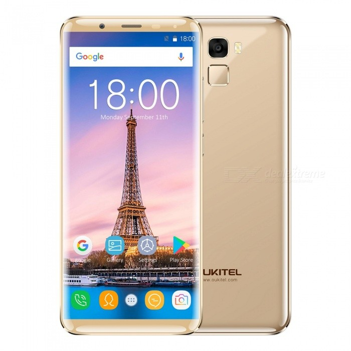 OUKITEL K5000 5.7 HD Screen Octa-core Android 7.0 4G Phone with 4GB RAM 64GB ROM - GoldAndroid Phones<br>Form  ColorGoldenRAM4GBROM64GBBrandOUKITELModelK5000Quantity1 pieceMaterialMetalShade Of ColorGoldTypeBrand NewPower AdapterEU PlugHousing Case MaterialMetalNetwork Type2G,3G,4GBand Details2G: GSM 850/900/1800/1900MHz; 3G: WCDMA 900/2100MHz; 4G: FDD-LTE Band 1/3/7/20(B1:2100, B3:1800, B7:2600, B20:800MHz)Data TransferGPRS,EDGEWLAN Dual band Wi-Fi (2.4GHz / 5GHz)SIM Card TypeNano SIMSIM Card Quantity2Network StandbyDual Network StandbyGPSYesNFCNoInfrared PortNoBluetooth VersionBluetooth V4.0Operating SystemOthers,Android 7.0CPU ProcessorMTK6750T  1.5 GHzCPU Core QuantityOcta-CoreGPUARM Mali-T860 MP2LanguageAfrikaans, Indonesian, Malay, Czech, Danish, Germany(German), Germany (Austria), English(United Kingdom), English(United States), Spanish(Espana), Spanish(Estados Unidos), Filipino, French, Croatian, Zulu, Italian, Swahili, Latviesu, Lithuanian, Hungarian, Dutch, Norsk bokmal, Polish, Portuguese(Brasil), Portuguese(Portugal), Romanian, Rumantsch, Slovak, Slovenscina, Finnish, Swedish, Vietnamese, Turkish, Russian, Greek, Hebrew, Arabic, Hindi, Thai, Korean, Simplified Chinese, Traditional ChineseAvailable Memory54GBMemory CardMicro SDMax. Expansion Supported128GBSize Range5.5 inches &amp; OverTouch Screen TypeIPSScreen ResolutionOthers,720*1440Multitouch5Screen Size ( inches)5.7Screen Edge2.5D Curved EdgeCamera type2 x CamerasCamera PixelOthers,16MPFront Camera Pixels21 MPFlashYesAuto FocusYesTouch FocusYesTalk Time20 hourStandby Time10 daysBattery Capacity5000 mAhBattery ModeNon-removableQuick ChargeOutput 5V-2AfeaturesWi-Fi,GPS,FM,Bluetooth,OTGSensorG-sensor,Fingerprint authentication sensor,Others,Gyroscope;Geomagnetic senor;Distance Sensor;light sensorWaterproof LevelIPX0 (Not Protected)Shock-proofNoI/O InterfaceUSB Type-c,OTGSoftwarePlay Store, E-mail, Gmail, Calculator, File manager, Clock, Calendar, Gallery, Video Player, Music, Sound Recorder, FM RadioFo