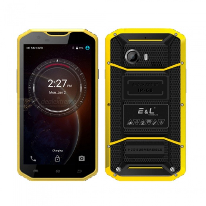 EL W8 Android 7.0 4G 5.5 FHD Dual SIM Octa-Core Phone w/ 2GB RAM, 16GB ROM - YellowAndroid Phones<br>Form  ColorYellowRAM2GBROM16GBBrandOthers,ELModelW8Quantity1 setMaterialPVCShade Of ColorYellowTypeBrand NewPower AdapterEU PlugHousing Case MaterialPVCNetwork Type2G,3G,4GBand Details2G GSM(850MHz/900MHz/1800MHz/1900MHz)   3G WCDMA(850/900/1900/2100)   4G FDD-LTE(B1/B2/B3/B4/B5/B7/B8/B17/B20)Data TransferGPRS,HSDPA,LTEWLAN Wi-Fi 802.11 b,g,nSIM Card TypeMicro SIMSIM Card Quantity2Network StandbyDual Network StandbyGPSYesNFCNoInfrared PortNoBluetooth VersionBluetooth V4.0Operating SystemOthers,Android 7.0CPU ProcessorMTK 6753   1.3GHzCPU Core QuantityOcta-CoreGPUARM MALI-T720 MP3LanguageAfrikaans / Indonesian / Malay / Czech / Danish / Germany(German) / Germany (Austria) / English(United Kingdom) / English(United States) / Spanish(Espana) / Spanish(Estados Unidos) / Filipino / French / Croatian / Zulu / Italian / Swahili / Latviesu / Lithuanian / Hungarian / Dutch / Norsk bokmal / Polish / Portuguese(Brasil) / Portuguese(Portugal) / Romanian / Rumantsch / Slovak / Slovenscina / Finnish / Swedish / Vietnamese / Turkish / Russian / Greek / Hebrew / Arabic / Hindi / Thai / Korean / Simplified Chinese / Traditional Chinese.Available Memory12GBMemory CardmicroSDMax. Expansion Supported128GBSize Range5.5 inches &amp; OverTouch Screen TypeIPSScreen Resolution1280*720Screen Size ( inches)5.5Camera type2 x CamerasCamera Pixel8.0MPFront Camera Pixels5 MPFlashNoTalk Time48 hourStandby Time96 hourBattery Capacity3000 mAhBattery ModeNon-removablefeaturesWi-Fi,GPS,FM,BluetoothSensorProximity,Compass,AccelerometerWaterproof LevelOthers,IP68Dust-proof LevelYesShock-proofYesI/O InterfaceMicro USB v2.0SoftwareSMS(threaded view),MMS,Email,Push Email,IMFormat SupportedMP3/eAAC+/WAV/MP4JAVANoTV TunerNoRadio TunerFMWireless ChargingNoOther Features5.5 HD IPS + Dual Network Standby + Android7.0 + 2GB RAM + 16GB ROM + Wi-Fi + GPS + FM  +  5.0MP Front camera+ 8.0MP Rear camera + 3000mAh battery + Octa-Core + Bluetooth 4.0Reference Websites== Will this mobile phone work with a certain mobile carrier of yours? ==CertificationMIL-STD-810GPacking List1 x Cell phone1 x Data cable1 x EU Plug Power adapter1 x User manual1 x Warranty manual<br>