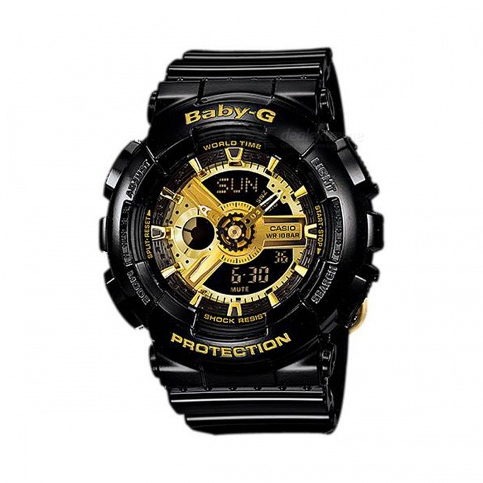 Casio Baby-G BA-110-1A Ladies Analog Digital Display and Black Resin Strap Watch - Black + GoldenSport Watches<br>Form  ColorBlack + GoldenModelBA-110-1AQuantity1 pieceShade Of ColorGoldCasing MaterialResinWristband MaterialResinSuitable forAdultsGenderWomenStyleWrist WatchTypeCasual watchesDisplayAnalog + DigitalMovementQuartzDisplay Format12/24 hour time formatWater ResistantWater Resistant 10 ATM or 100 m. Suitable for recreational surfing, swimming, snorkeling, sailing and water sports.Dial Diameter4.63 cmDial Thickness1.58 cmWristband Length22 cmBand Width2.5 cmBattery2 x SR726WPacking List1 x BA-110-1A Womens Watch<br>