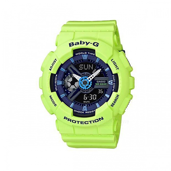 Casio Baby-G BA-110PP-3A 100m Waterproof Analog Digital Display Ladies Sport Watch w/ Resin Strap - GreenSport Watches<br>Form  ColorGreenModelBA-110PP-3AQuantity1 pieceShade Of ColorGreenCasing MaterialResinWristband MaterialResinSuitable forAdultsGenderUnisexStyleWrist WatchTypeSports watchesDisplayAnalog + DigitalMovementQuartzDisplay Format12/24 hour time formatWater ResistantWater Resistant 10 ATM or 100 m. Suitable for recreational surfing, swimming, snorkeling, sailing and water sports.Dial Diameter4.34 cmDial Thickness1.58 cmWristband Length22 cmBand Width2.5 cmBattery2 x SR726WPacking List1 x BA-110PP-3A Watch<br>