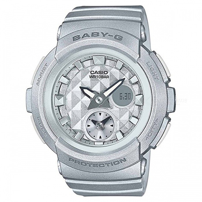 Casio Baby-G BGA-195-8A 100-Meter Water Resistance Sport Watch with Resin Band and Case - SliverSport Watches<br>Form  ColorGreyModelBGA-195-8AQuantity1 pieceShade Of ColorGrayCasing MaterialResinWristband MaterialResinSuitable forAdultsGenderUnisexStyleWrist WatchTypeCasual watchesDisplayAnalog + DigitalMovementQuartzDisplay Format12/24 hour time formatWater ResistantWater Resistant 10 ATM or 100 m. Suitable for recreational surfing, swimming, snorkeling, sailing and water sports.Dial Diameter4.8 cmDial Thickness1.55 cmWristband Length22 cmBand Width2.5 cmBattery2 ? SR726WPacking List1 x BGA-195-8A Watch<br>