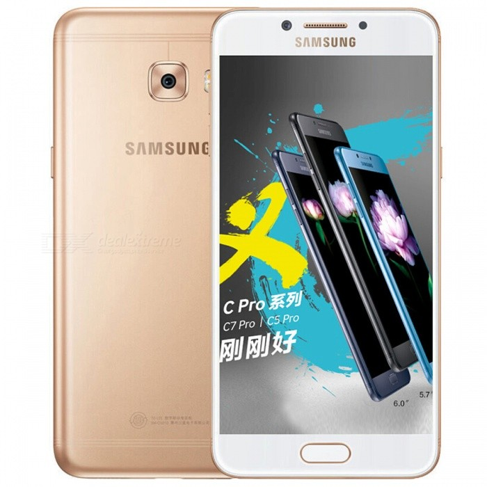 Samsung Galaxy C5 Pro 2016 C5010 LTE Mobile Phone with 4GB RAM 64GB ROM - GoldenAndroid Phones<br>Form  ColorGoldenRAM4GBROM64GBBrandSamsungModelGalaxy C5 Pro 2016 C5010Quantity1 setMaterialMetal CaseShade Of ColorGoldTypeBrand NewPower AdapterUS PlugHousing Case MaterialMetalTime of Release2017/3Network Type2G,3G,4GBand Details2G: GSM 850/900/1800/1900;  3G: CDMA EVDO 800;  3G: WCDMA B1/2/5/8;  3G: TD-SCDMA B34/39;  4G: TD-LTE B38/39/40/41;  4G: FDD-LTE B1/3/5/7/8Data TransferLTEWLAN Wi-Fi 802.11 a,b,g,nSIM Card TypeNano SIMSIM Card Quantity2Network StandbyDual Network StandbyGPSYesNFCYesBluetooth VersionBluetooth V4.2Operating SystemAndroid 6.0CPU ProcessorQualcomm Snapdragon 626 MSM8953 ProCPU Core QuantityOcta-CoreGPUQualcomm Adreno 506 GPULanguageNot SpecifyAvailable Memory64GB ROMMemory CardSupports Micro SD cardMax. Expansion SupportedUp to 256GBSize Range5.0~5.4 inchesTouch Screen TypeYesScreen Resolution1920*1080MultitouchOthers,YesScreen Size ( inches)Others,5.2Camera type2 x CamerasCamera PixelOthers,16.0MPFront Camera Pixels16.0 MPFlashYesTalk Time- hourStandby Time- hourBattery Capacity2600 mAhfeaturesWi-Fi,Bluetooth,NFCSensorG-sensor,Fingerprint authentication sensorWaterproof LevelIPX0 (Not Protected)I/O Interface3.5mm,USB Type-cReference Websites== Will this mobile phone work with a certain mobile carrier of yours? ==Packing List1 x Cell Phone1 x Power Adapter1 x USB Cable1 x User Manual<br>