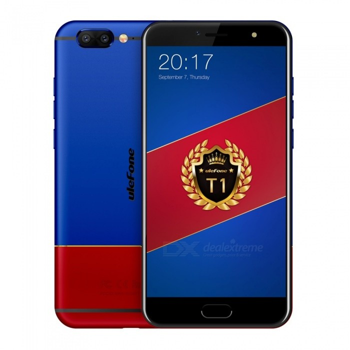 Ulefone T1 Premium Edition Android 7.0 5.5 IPS FHD 4G Phone with 6GB RAM, 128GB ROM - Red + Blue (US Version)Android Phones<br>Form  ColorRed + Blue (US Plug)RAM6GBROM128GBBrandUlefoneModelT1Quantity1 pieceMaterialMetal BodyShade Of ColorMulti-colorTypeBrand NewPower AdapterUS PlugHousing Case MaterialMetal BodyTime of Release2017.11.25Network Type2G,3G,4G,Others,CDMABand DetailsGSM: 1900/1800/850/900 WCDMA: 2100/1900/1700/850/900 CDMA2000 FDD-LTE: B1/2/3/4/5/7/8/12/17/19/20Band12100Band2:1900,Band3:1800,Band4:1700,Band5:850,Band7:2600,Band8:900,Band12:700,Band17:700,Band19:850,Band20:800);TDD-LTE: 2500/1900/2300/2500 (Band38:2500,Band39:1900,Band40:2300,Band41:2500)Data TransferGPRS,HSDPA,EDGE,LTE,HSUPAWLAN Wi-Fi 802.11 a,b,g,n,Dual band Wi-Fi (2.4GHz / 5GHz)SIM Card TypeNano SIMSIM Card Quantity2Network StandbyDual Network StandbyGPSYes,A-GPS,GLONASSNFCNoBluetooth VersionBluetooth V4.1Operating SystemAndroid 7.xCPU ProcessorMTK Helio P25 Octa-core 64-bit 2.6GHzCPU Core QuantityOcta-CoreGPUARM Mali-T880 1GHzLanguageIndonesian, Malay, Catalan, Czech, Danish, German, Estonian, English, Spanish, Filipino, French, Croatian, Italian, Latvian, Lithuanian, Hungarian, Dutch, Norwegian, Polish, Portuguese, Romanian, Slovak, Finnish, Swedish, Vietnamese, Greek, Turkish, Bulgarian, Russian, Serb, Ukrainian, Armenian, Hebrew, Urdu, Arabic, Persian, Hindi, Bengali, Thai, Korean, Burmese, Japanese, Simplified Chinese, Traditional ChineseAvailable Memory118 GBMemory CardTF CardMax. Expansion Supported256GSize Range5.5 inches &amp; OverTouch Screen TypeIPSScreen Resolution1920*1080Multitouch5Screen Size ( inches)5.5Screen Edge2.5D Curved EdgeCamera type2 x CamerasCamera PixelOthers,16MP + 5.0MPFront Camera Pixels13 MPVideo Recording Resolution1080p 60fpsFlashYesAuto FocusYESTouch FocusYesTalk Time10 hoursStandby Time450 hoursBattery Capacity3680 mAhBattery ModeNon-removableQuick Charge9V 2AfeaturesWi-Fi,GPS,Bluetooth,OTGSensorG-sensor,Proximity,Compass,Fingerprint authentication s