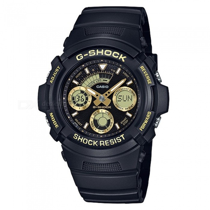 Casio G-Shock AW-591GBX-1A9 Standard Series Mens Watch - Black + GoldenSport Watches<br>Form  ColorBlack + GoldModelAW-591GBX-1A9Quantity1 pieceShade Of ColorBlackCasing MaterialResinWristband MaterialResinSuitable forAdultsGenderMenStyleWrist WatchTypeCasual watchesDisplayAnalog + DigitalMovementDigitalDisplay Format12/24 hour time formatWater ResistantOthers,200-meter water resistanceDial Diameter5.2 cmDial Thickness1.49 cmWristband Length23 cmBand Width2.5 cmBattery1 x CR1220Packing List1 x AW-591GBX-1A9 Watch<br>