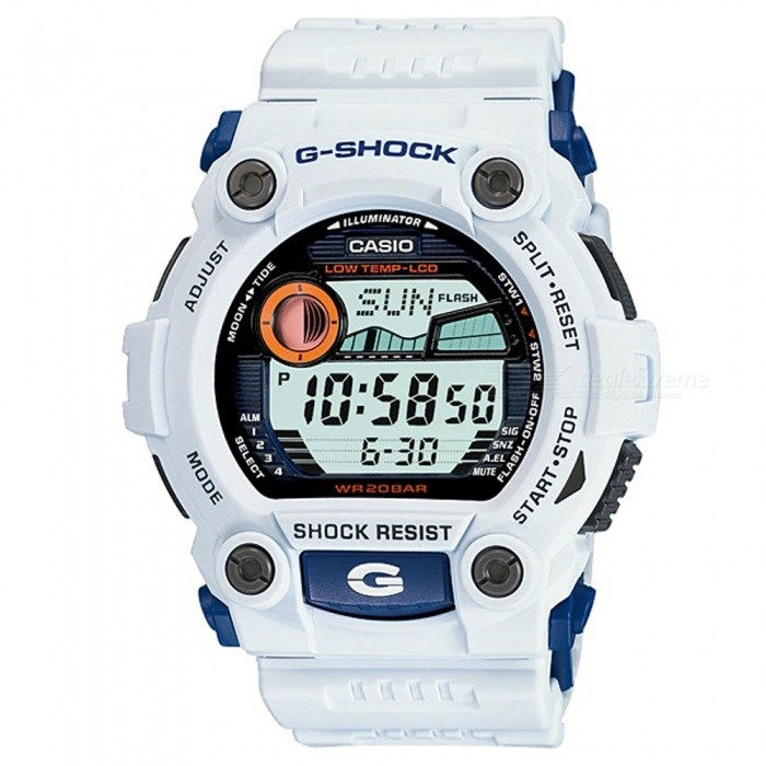 Casio G-7900A-7 G-Shock Series Digital Watch - White + BlueSport Watches<br>ColorWhite + BlueModelG-7900A-7Quantity1 pieceShade Of ColorWhiteCasing MaterialResinWristband MaterialResinSuitable forAdultsGenderMenStyleWrist WatchTypeSports watchesDisplayDigitalMovementDigitalDisplay Format12/24 hour time formatWater ResistantOthers,200-meter water resistanceDial Diameter5.24 cmDial Thickness1.77 cmWristband Length22 cmBand Width2.17 cmBatteryCR2025Packing List1 x Watch1 x User Guide<br>