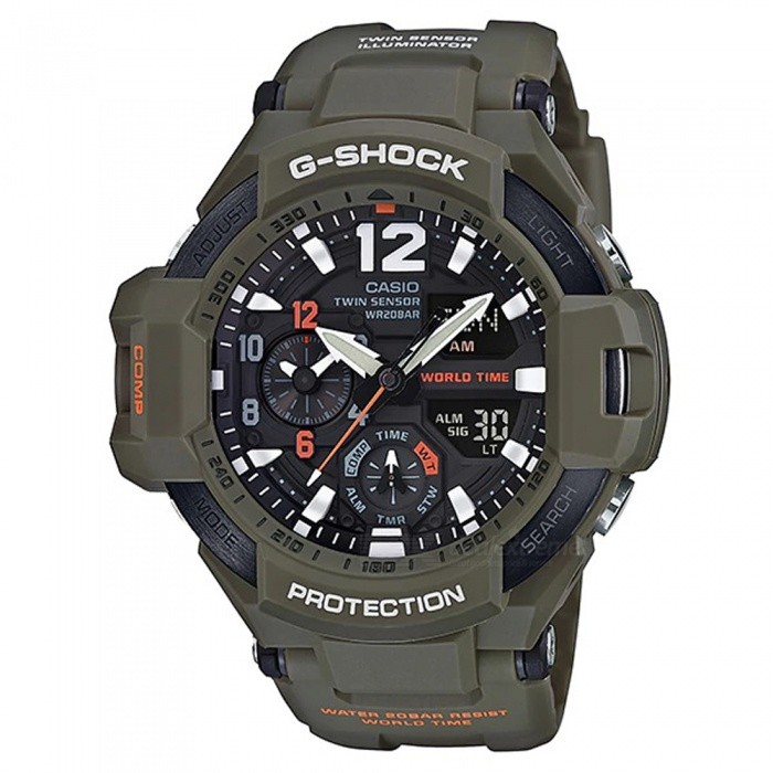 Casio G-Shock GA-1100KH-3A Master of G Series Wrist Watch - Military GreenSport Watches<br>ColorMilitary GreenModelGA-1100KH-3AQuantity1 pieceShade Of ColorGreenCasing MaterialResinWristband MaterialResinSuitable forAdultsGenderMenStyleWrist WatchTypeFashion watchesDisplayAnalog + DigitalMovementDigitalDisplay Format12/24 hour time formatWater ResistantOthers,200-meter water resistanceDial Diameter5.08 cmDial Thickness1.69 cmWristband Length22 cmBand Width2.17 cmBattery2 ? SR927WPacking List1 x Watch1 x Guide<br>