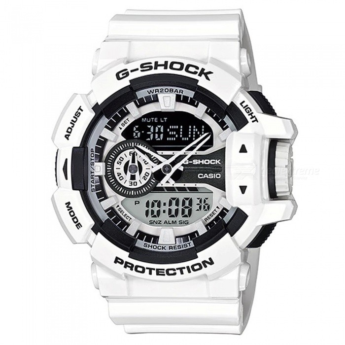 Casio G-Shock GA-400-7A Adults Wrist Watch - WhiteSport Watches<br>ColorWhiteModelGA-400-7AQuantity1 pieceShade Of ColorWhiteCasing MaterialResinWristband MaterialResinSuitable forAdultsGenderMenStyleWrist WatchTypeFashion watchesDisplayAnalog + DigitalMovementDigitalDisplay Format12/24 hour time formatWater ResistantOthers,200-meter water resistanceDial Diameter5.5 cmDial Thickness1.83 cmWristband Length22 cmBand Width2.17 cmBattery2 ? SR927WPacking List1 x Watch1 x Guide<br>