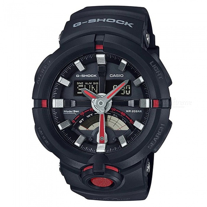 Casio G-shock GA-500-1A4 Digital Sports Watch - Black + RedSport Watches<br>ColorBlack + RedModelGA-500-1A4Quantity1 pieceShade Of ColorRedCasing MaterialResinWristband MaterialResinSuitable forAdultsGenderMenStyleWrist WatchTypeCasual watchesDisplayAnalog + DigitalMovementDigitalDisplay Format12/24 hour time formatWater ResistantOthers,200-meter water resistanceDial Diameter5.76 cmDial Thickness1.71 cmWristband Length22 cmBand Width2.17 cmBatteryCR2016Packing List1 x Watch1 x Guide<br>