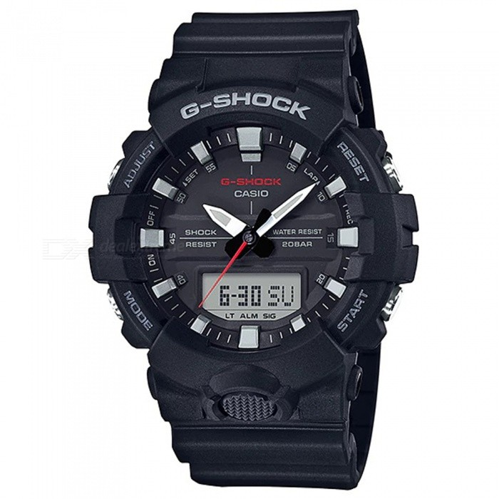 Casio G-Shock GA-800-1A Digital Watch - BlackSport Watches<br>ColorBlackModelGA-800-1AQuantity1 pieceShade Of ColorBlackCasing MaterialResinWristband MaterialResinSuitable forAdultsGenderMenStyleWrist WatchTypeFashion watchesDisplayAnalog + DigitalMovementDigitalDisplay Format12/24 hour time formatWater ResistantOthers,200-meter water resistanceDial Diameter5.41 cmDial Thickness1.55 cmWristband Length22 cmBand Width2.17 cmBatteryCR2016Packing List1 x Watch1 x Guide<br>