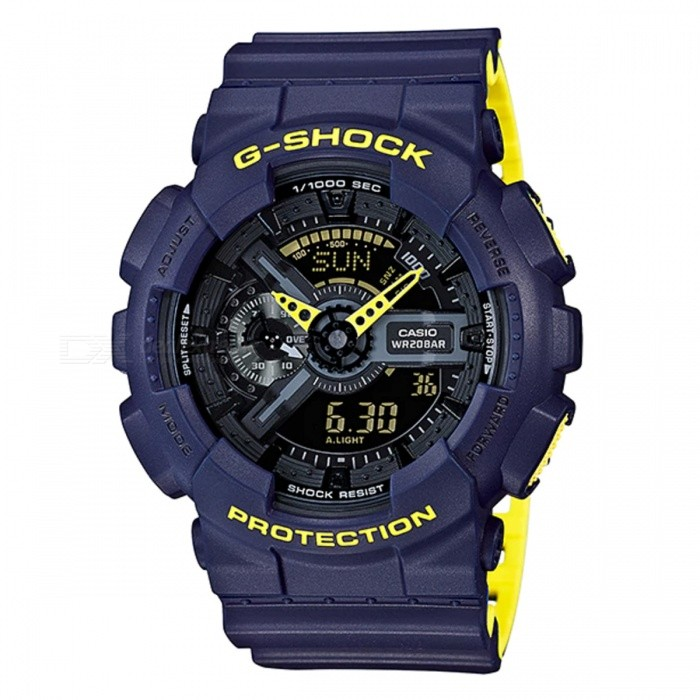 Casio G-Shock GA-110LN-2A Analog Digital Watch - Navy Blue + Neon YellowSport Watches<br>ColorNavy Blue + Neon YellowModelGA-110LN-2AQuantity1 pieceShade Of ColorBlueCasing MaterialResinWristband MaterialResinSuitable forAdultsGenderMenStyleWrist WatchTypeFashion watchesDisplayAnalog + DigitalMovementDigitalDisplay Format12/24 hour time formatWater ResistantOthers,200-meter water resistanceDial Diameter5.5 cmDial Thickness1.69 cmWristband Length22 cmBand Width2.2 cmBattery1 x CR1220Packing List1 x Watch1 x Guide<br>