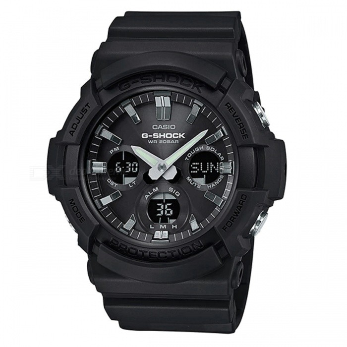 Casio G-Shock GAS-100B-1A Standard Analog Digital Watch - BlackSport Watches<br>ColorBlackModelGAS-100B-1AQuantity1 pieceShade Of ColorBlackCasing MaterialResinWristband MaterialResinSuitable forAdultsGenderMenStyleWrist WatchTypeFashion watchesDisplayAnalog + DigitalMovementDigitalDisplay Format12/24 hour time formatWater ResistantOthers,200-meter water resistanceDial Diameter5.51 cmDial Thickness1.67 cmWristband Length22 cmBand Width2.2 cmBatterySolar poweredPacking List1 x Watch1 x Guide<br>