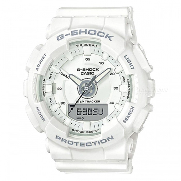 Casio GMA-S130-7A Step Tracker S Series Analog Digital Watch - WhiteSport Watches<br>ColorWhiteModelGMA-S130-7AQuantity1 pieceShade Of ColorWhiteCasing MaterialResinWristband MaterialResinSuitable forAdultsGenderMenStyleWrist WatchTypeCasual watchesDisplayAnalog + DigitalMovementQuartzDisplay Format12/24 hour time formatWater ResistantOthers,200-meter water resistanceDial Diameter4.9 cmDial Thickness1.55 cmWristband Length22 cmBand Width2.2 cmBattery1 x CR2016Packing List1 x GMA-S130-7A<br>