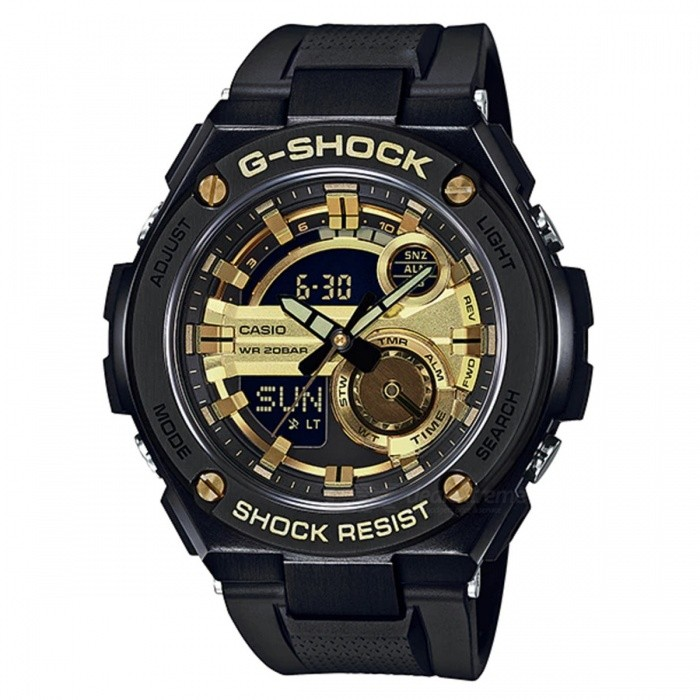 Casio G-Shock GST-210B-1A9 G-STEEL Series Analog Digital Watch - Black + GoldSport Watches<br>ColorBlack + GoldModelGST-210B-1A9Quantity1 pieceShade Of ColorGoldCasing MaterialResinWristband MaterialResinSuitable forAdultsGenderMenStyleWrist WatchTypeCasual watchesDisplayAnalog + DigitalMovementQuartzDisplay Format12/24 hour time formatWater ResistantOthers,200-meter water resistanceDial Diameter5.91 cmDial Thickness1.61 cmWristband Length22 cmBand Width2.2 cmBattery2 ? SR927WPacking List1 x GST-210B-1A9<br>
